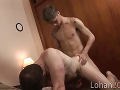 Lusty college boy plows an old bottom