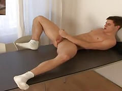 sport boy loves to wank in white socks