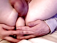 self fuck with DP dildo