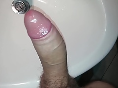Big fat white cock cumshot