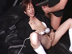 the super slutty japanese boy screams  while cumming