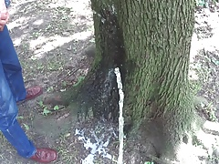 Two friends pissing together on a tree