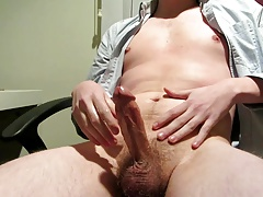 Office boy sensually masturbating until strong climax