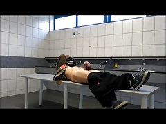 Jerking off in a public laundry room