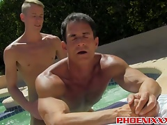 Attractive muscular dudes having hardcore fun by the pool