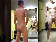 JERKING OFF IN GYM LOCKER ROOM
