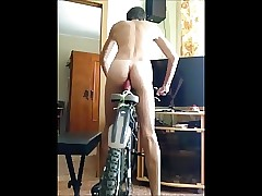 Twink ride dildo for bike in room