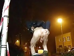 Twink plays with his ass discreetly outside