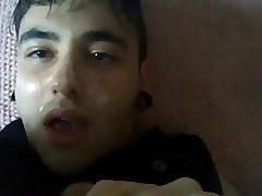Emo punk boy self facial & cum in mouth