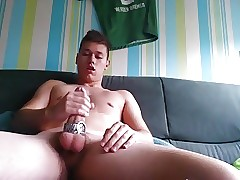 German Boy Wank his Big Dick and Shoot a Big Load