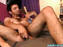 Hairy thug Jeremy Cox jacks off his large hairy prick solo