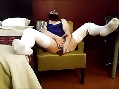 Hotel Crossdress Solo PT6 (White Stockings, Blue Nighty)