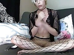 Cute blonde CD sperms and eats her sperm