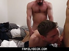 Father and son take turns fucking college roommate in dorm