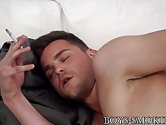 Dustin Fitch like wanking while taking a smoke solo