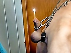 nackedslave6 lift weights penis plug top candle