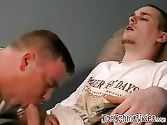 Deep barebacking after a blowjob with chubby gay and twink
