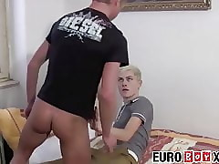Passionate bareback sex with skinny European twinks