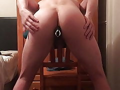 Tight Ass Gets Vibrator While Standing