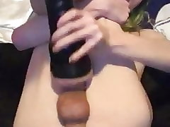 Trans milks cock with fleshlight then big cumshot