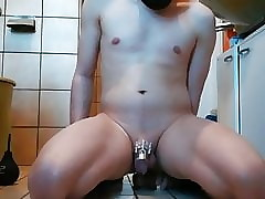Twink riding dildo with vibration