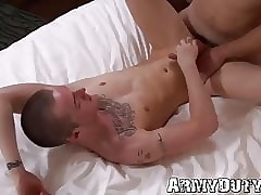Athletic gay soldiers with tattoos suck cock and bare fuck