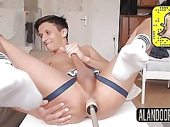 Argentinian slut being fucked by machine on webcam live show