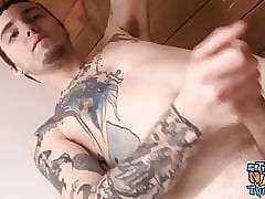 Straight thug Blinx masturbating while showing off tattoos