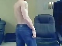 Ripped guy jerking