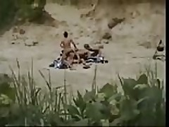 Outdoor country gangbang