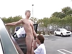 Parking lot public blowjob