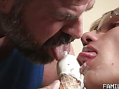 Daddy fucks twink bareback after ice cream