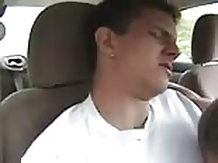 Blow job and cum eating in the car