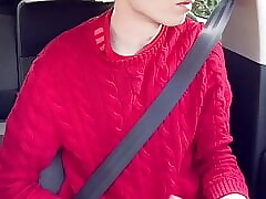 Cute young twink Craig Kennedy wanks his dick while driving