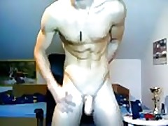 Cute muscled boy wanks on cam