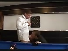 Hardcore threesome on pool table