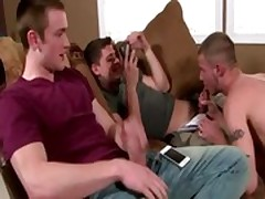 Guy masturbates while watching a gay couple