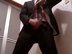 Cum twice with wearing suit