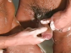 three Guys have fun in shower