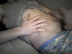 Teenboy cumshot and navel play