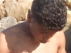 Tunisian twink wanks his BIG Arab dick near the beach