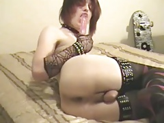 Femme Emo Slutboy Plays with Dildo