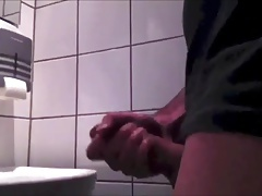 Amateur Young German Boy - Wank and Cum in Public Toilet