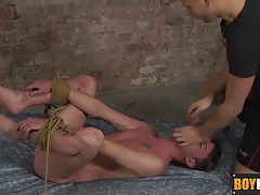 Cameron sucks dick and getting ass fucked while bound in bed
