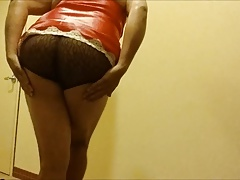 red satin slip brown lace panty small cock tease