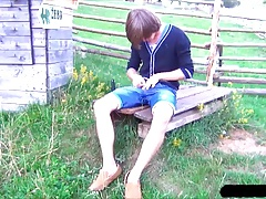 Young Boy William Dildo Fun Field