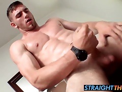 Muscled jock Elijah really wants to play with his long cock