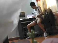 Asia Boy Watching Porn and Cum