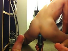 Sweet Boy have fun with Dildo and a Bottle