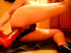 Fem Boi fucking dildo in panties and high heels